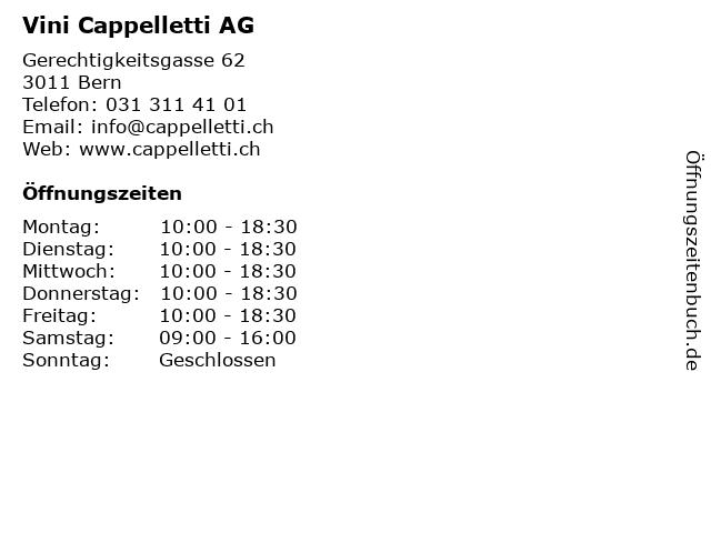 Vini Cappelletti AG in Bern: Adresse und Öffnungszeiten