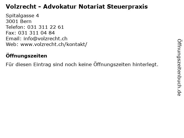 Volzrecht - Advokatur Notariat Steuerpraxis in Bern: Adresse und Öffnungszeiten