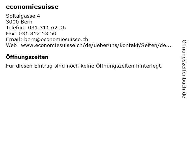 economiesuisse in Bern: Adresse und Öffnungszeiten