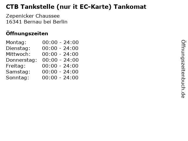 CTB Tankstelle (nur it EC-Karte) Tankomat in Bernau bei Berlin: Adresse und Öffnungszeiten