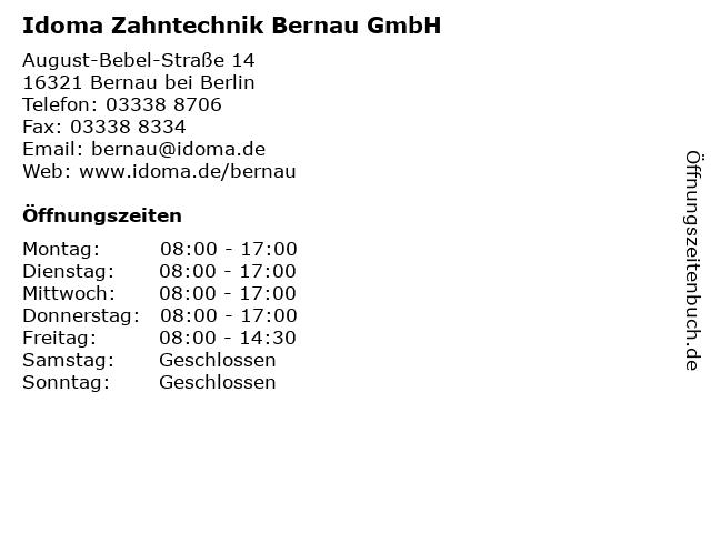 Idoma Zahntechnik Bernau GmbH Zahntechnisches Labor in Bernau bei Berlin: Adresse und Öffnungszeiten