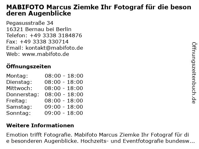 MABIFOTO Marcus Ziemke Ihr Fotograf für die besonderen Augenblicke in Bernau bei Berlin: Adresse und Öffnungszeiten