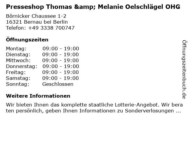 Presseshop in Bernau bei Berlin: Adresse und Öffnungszeiten