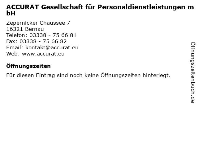 ACCURAT Gesellschaft für Personaldienstleistungen mbH in Bernau: Adresse und Öffnungszeiten