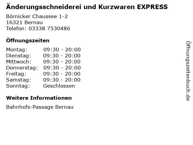 Änderungsschneiderei und Kurzwaren EXPRESS in Bernau: Adresse und Öffnungszeiten