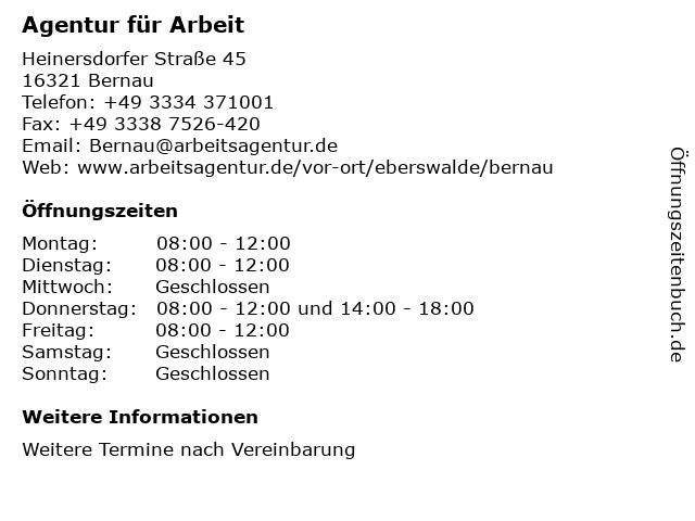 Agentur für Arbeit in Bernau: Adresse und Öffnungszeiten