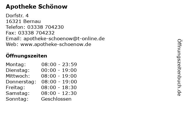 Apotheke Schönow in Schönow: Adresse und Öffnungszeiten