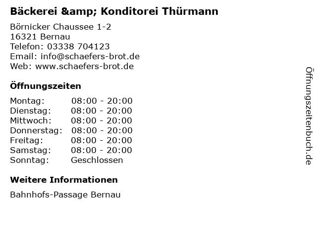 Bäckerei & Konditorei Thürmann in Bernau: Adresse und Öffnungszeiten