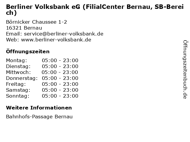 Berliner Volksbank eG (FilialCenter Bernau, SB-Bereich) in Bernau: Adresse und Öffnungszeiten