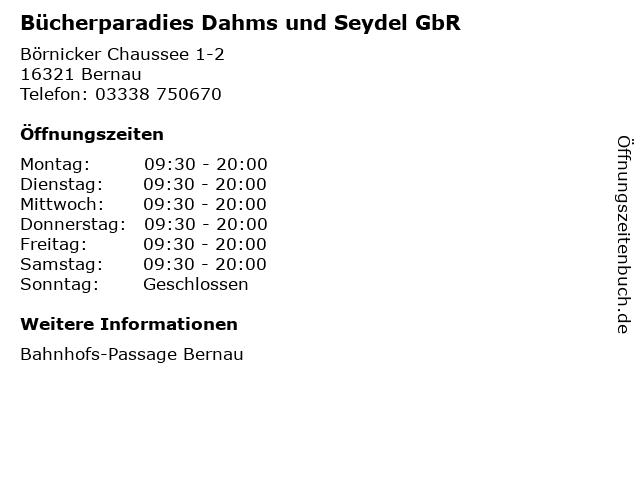 Bücherparadies Dahms und Seydel GbR in Bernau: Adresse und Öffnungszeiten