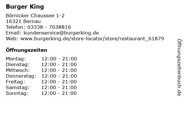 Burger King in Bernau: Adresse und Öffnungszeiten