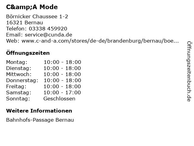 C&A Mode GmbH & Co. KG in Bernau: Adresse und Öffnungszeiten
