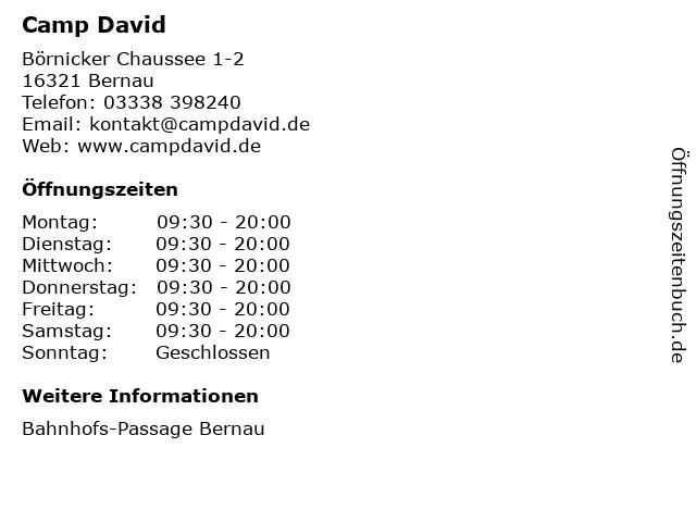 Camp David in Bernau: Adresse und Öffnungszeiten
