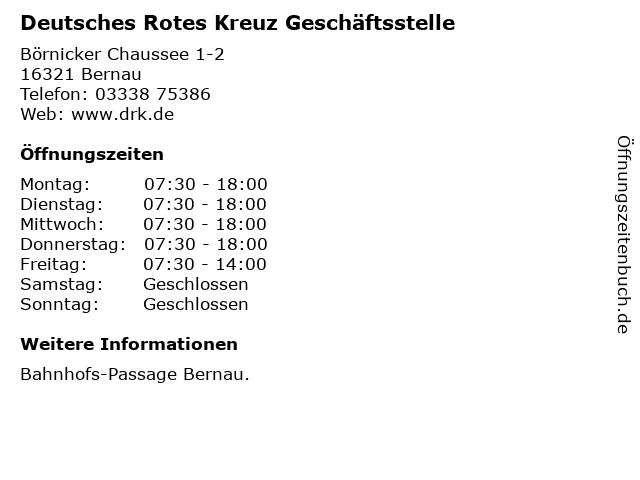 Deutsches Rotes Kreuz Geschäftsstelle in Bernau: Adresse und Öffnungszeiten