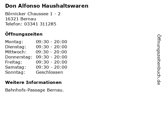 Don Alfonso Haushaltswaren in Bernau: Adresse und Öffnungszeiten