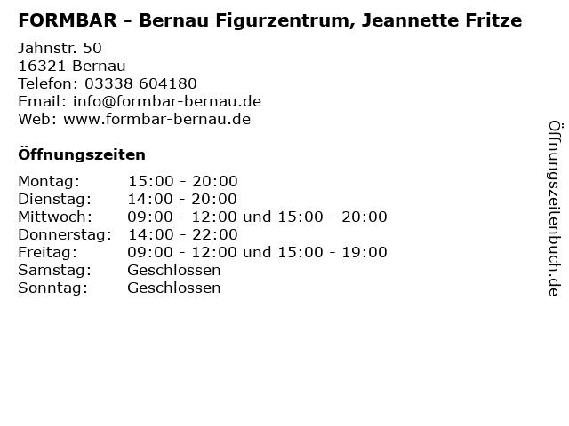 FORMBAR - Bernau Figurzentrum, Jeannette Fritze in Bernau: Adresse und Öffnungszeiten