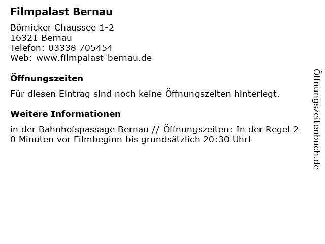 Filmpalast Bernau in Bernau: Adresse und Öffnungszeiten