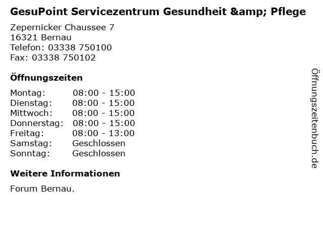 GesuPoint Servicezentrum Gesundheit & Pflege in Bernau: Adresse und Öffnungszeiten