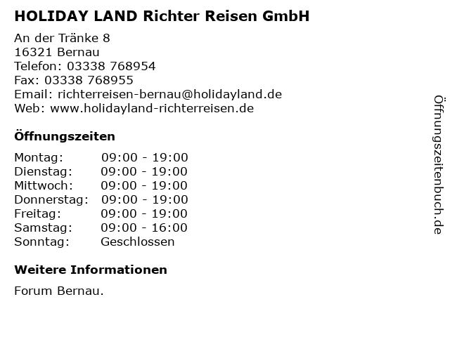 HOLIDAY LAND Richter Reisen GmbH in Bernau: Adresse und Öffnungszeiten