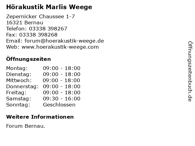 Hörakustik Marlis Weege in Bernau: Adresse und Öffnungszeiten