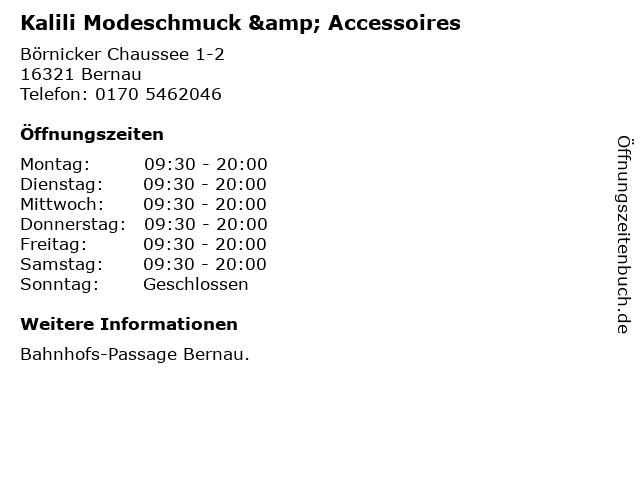 Kalili Modeschmuck & Accessoires in Bernau: Adresse und Öffnungszeiten