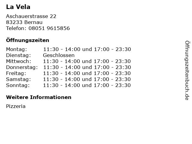 La Vela in Bernau: Adresse und Öffnungszeiten