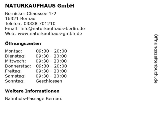 NATURKAUFHAUS GmbH in Bernau: Adresse und Öffnungszeiten