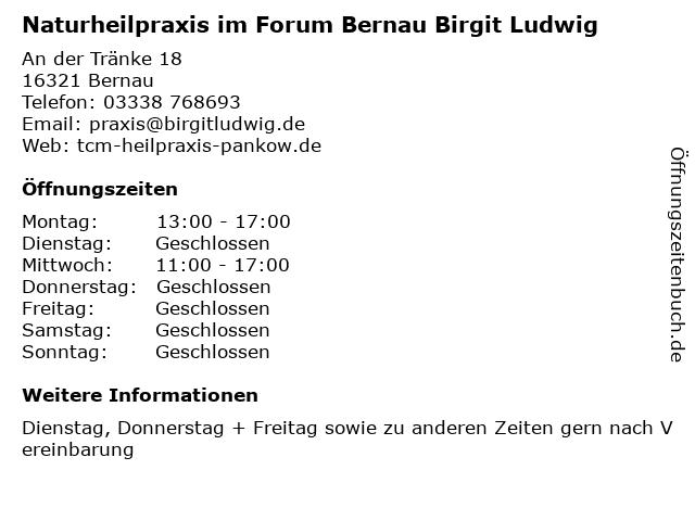 Naturheilpraxis im Forum Bernau Birgit Ludwig in Bernau: Adresse und Öffnungszeiten
