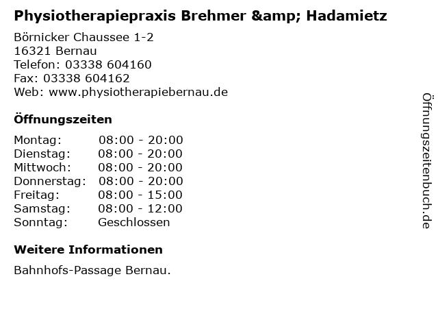 Physiotherapiepraxis Brehmer & Hadamietz in Bernau: Adresse und Öffnungszeiten