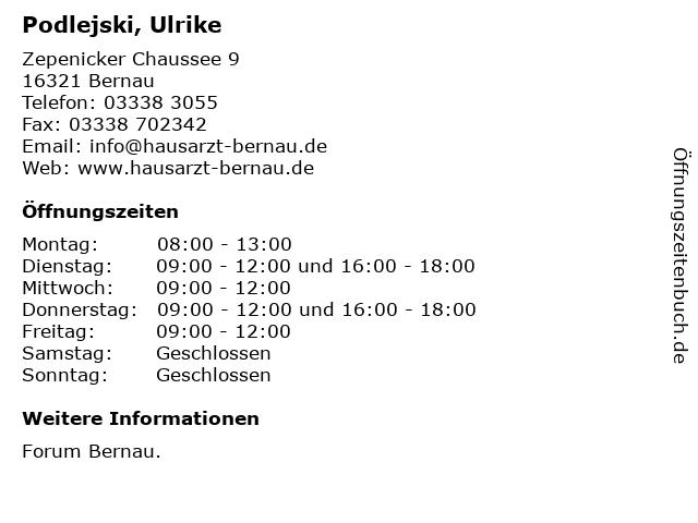 Podlejski, Ulrike in Bernau: Adresse und Öffnungszeiten