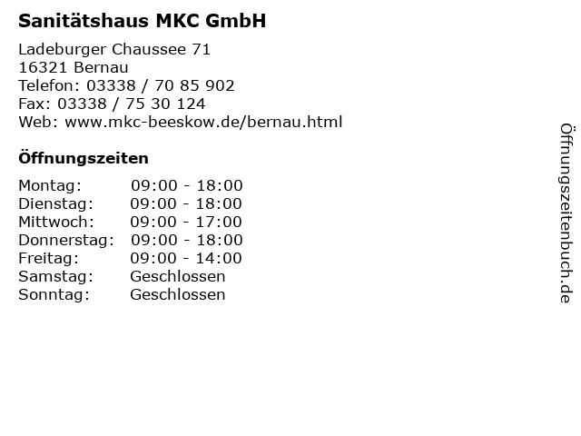 Sanitätshaus MKC GmbH in Bernau: Adresse und Öffnungszeiten