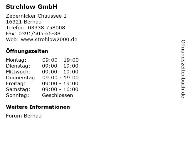Strehlow GmbH in Bernau: Adresse und Öffnungszeiten