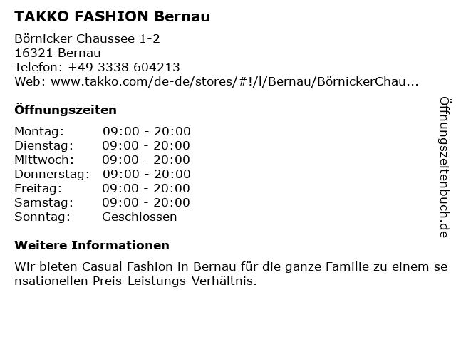 Takko Fashion in Bernau: Adresse und Öffnungszeiten