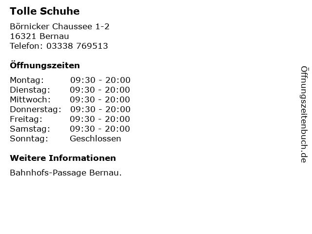 Tolle Schuhe in Bernau: Adresse und Öffnungszeiten
