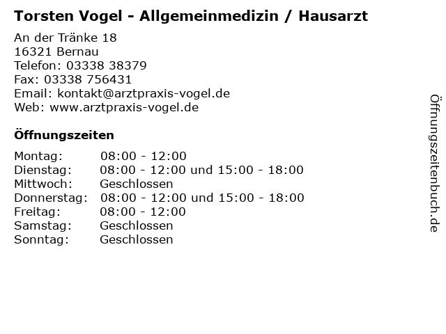 Torsten Vogel - Allgemeinmedizin / Hausarzt in Bernau: Adresse und Öffnungszeiten