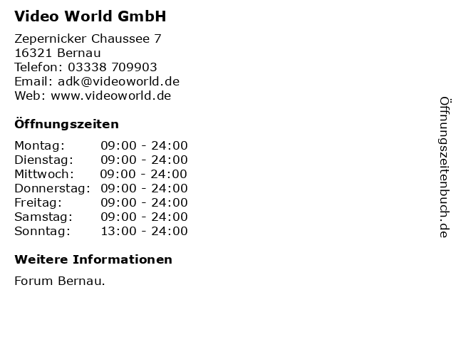 Video World GmbH in Bernau: Adresse und Öffnungszeiten