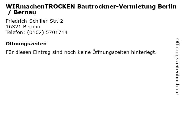 WIR machen TROCKEN Bautrockner-Vermietung in Bernau bei Berlin: Adresse und Öffnungszeiten