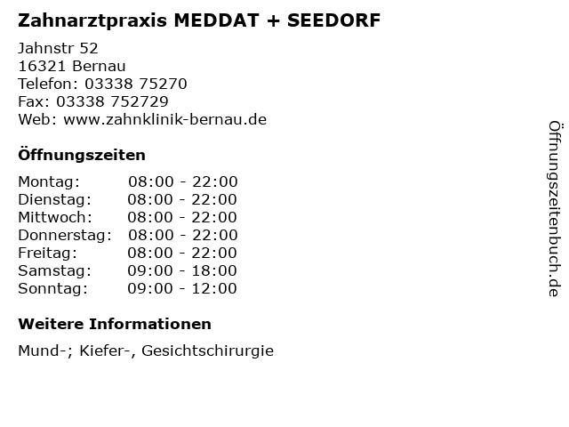 Zahnarztpraxis MEDDAT + SEEDORF in Bernau: Adresse und Öffnungszeiten