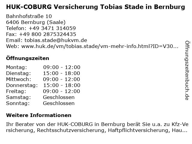 ᐅ Offnungszeiten Huk Coburg Versicherung Tobias Stade In Bernburg