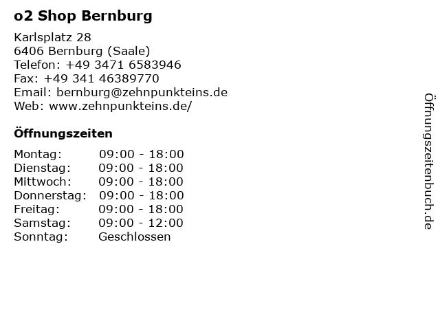 o2 Shop Bernburg in Bernburg (Saale): Adresse und Öffnungszeiten