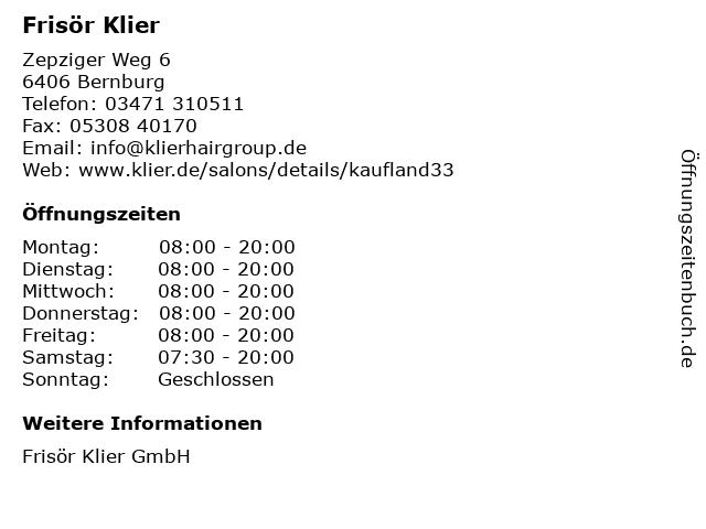 Frisör Klier in Bernburg: Adresse und Öffnungszeiten