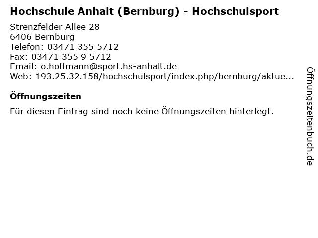 Hochschule Anhalt (Bernburg) - Hochschulsport in Bernburg: Adresse und Öffnungszeiten
