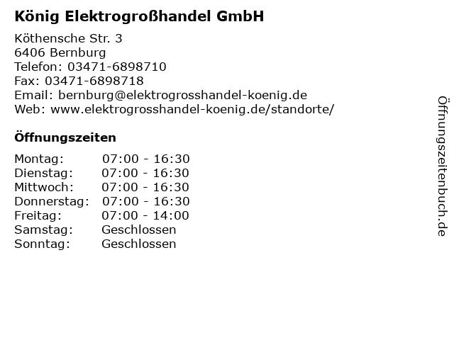 König Elektrogroßhandel GmbH in Bernburg: Adresse und Öffnungszeiten