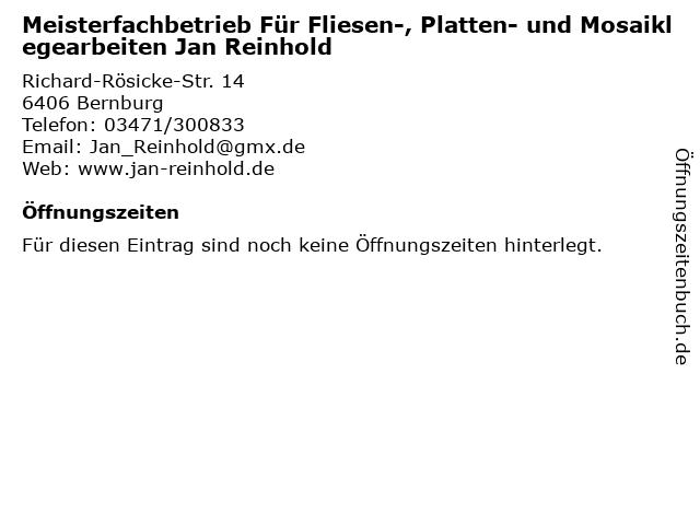 Meisterfachbetrieb Für Fliesen-, Platten- und Mosaiklegearbeiten Jan Reinhold in Bernburg: Adresse und Öffnungszeiten