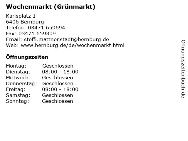 Wochenmarkt (Grünmarkt) in Bernburg: Adresse und Öffnungszeiten