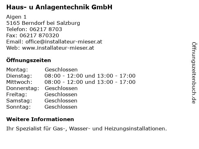 Haus- u Anlagentechnik GmbH in Berndorf bei Salzburg: Adresse und Öffnungszeiten