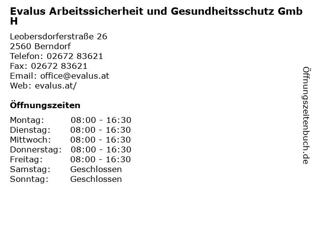 Evalus Arbeitssicherheit und Gesundheitsschutz GmbH in Berndorf: Adresse und Öffnungszeiten