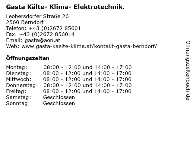 Gasta Kälte- Klima- Elektrotechnik. in Berndorf: Adresse und Öffnungszeiten