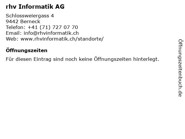 rhv Informatik AG in Berneck: Adresse und Öffnungszeiten