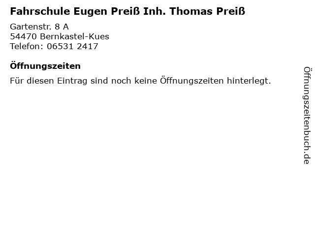 Fahrschule Eugen Preiß Inh. Thomas Preiß in Bernkastel-Kues: Adresse und Öffnungszeiten